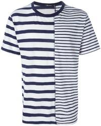 Camiseta con cuello circular de rayas horizontales en blanco y azul de Alexander Wang