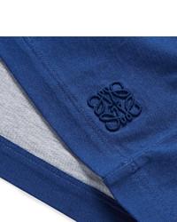 Camiseta con cuello circular de rayas horizontales en blanco y azul de Loewe