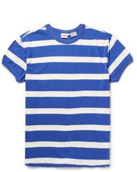 Camiseta con cuello circular de rayas horizontales en blanco y azul de Levi's