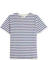 Camiseta con cuello circular de rayas horizontales en blanco y azul de Margaret Howell