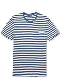 Camiseta con cuello circular de rayas horizontales en blanco y azul de Polo Ralph Lauren