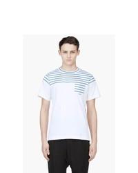 Camiseta con cuello circular de rayas horizontales en blanco y azul de Sacai
