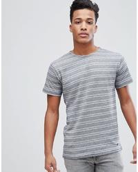 Camiseta con cuello circular de rayas horizontales en blanco y azul de Solid