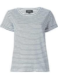 Camiseta con cuello circular de rayas horizontales en blanco y negro de A.P.C.