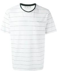Camiseta con cuello circular de rayas horizontales en blanco y negro de AMI Alexandre Mattiussi