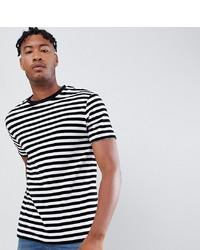 Camiseta con cuello circular de rayas horizontales en blanco y negro de ASOS DESIGN