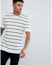 Camiseta con cuello circular de rayas horizontales en blanco y negro de Asos