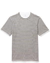 Camiseta con cuello circular de rayas horizontales en blanco y negro de Brunello Cucinelli