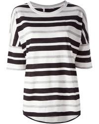 Camiseta con cuello circular de rayas horizontales en blanco y negro de Derek Lam