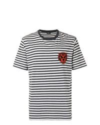 Camiseta con cuello circular de rayas horizontales en blanco y negro de Diesel