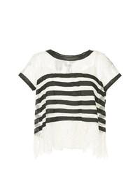 Camiseta con cuello circular de rayas horizontales en blanco y negro de Edward Achour Paris
