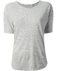 Camiseta con cuello circular de rayas horizontales en blanco y negro de Etoile Isabel Marant