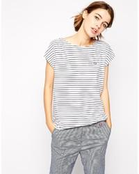 Camiseta con cuello circular de rayas horizontales en blanco y negro de Fred Perry