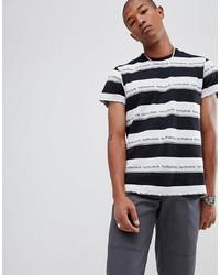 Camiseta con cuello circular de rayas horizontales en blanco y negro de HUF
