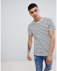 Camiseta con cuello circular de rayas horizontales en blanco y negro de Jefferson