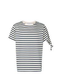 Camiseta con cuello circular de rayas horizontales en blanco y negro de JW Anderson