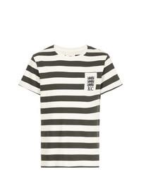 Camiseta con cuello circular de rayas horizontales en blanco y negro de Kent & Curwen