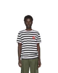 Camiseta con cuello circular de rayas horizontales en blanco y negro de Loewe