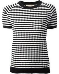 Camiseta con cuello circular de rayas horizontales en blanco y negro de Marni