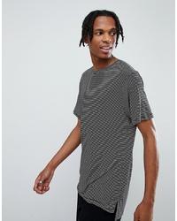 Camiseta con cuello circular de rayas horizontales en blanco y negro de Mennace