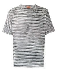 Camiseta con cuello circular de rayas horizontales en blanco y negro de Missoni