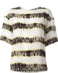 Camiseta con cuello circular de rayas horizontales en blanco y negro de MSGM