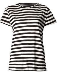 Camiseta con cuello circular de rayas horizontales en blanco y negro de Proenza Schouler