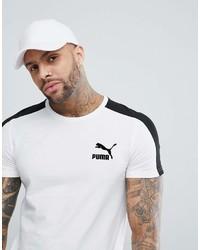 Camiseta con cuello circular de rayas horizontales en blanco y negro de Puma