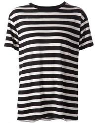 Camiseta con cuello circular de rayas horizontales en blanco y negro de R 13
