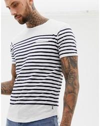 Camiseta con cuello circular de rayas horizontales en blanco y negro de Ringspun