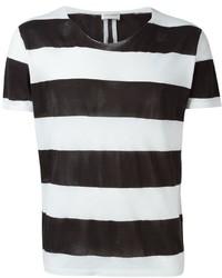 Camiseta con cuello circular de rayas horizontales en blanco y negro de Saint Laurent