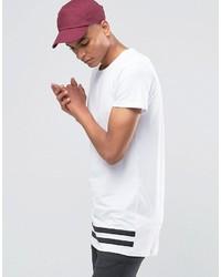 Camiseta con cuello circular de rayas horizontales en blanco y negro de Selected
