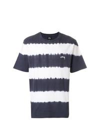 Camiseta con cuello circular de rayas horizontales en blanco y negro de Stussy