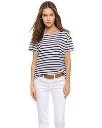 Camiseta con cuello circular de rayas horizontales en blanco y negro de Sundry
