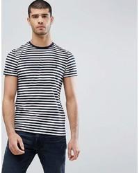 Camiseta con cuello circular de rayas horizontales en blanco y negro de Tommy Hilfiger