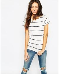 Camiseta con cuello circular de rayas horizontales en blanco y negro de Vero Moda