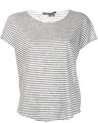 Camiseta con cuello circular de rayas horizontales en blanco y negro de Vince