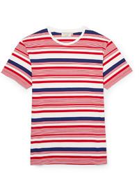 Camiseta con cuello circular de rayas horizontales en blanco y rojo y azul marino de Kitsune