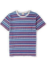 Camiseta con cuello circular de rayas horizontales en blanco y rojo y azul marino de Levi's