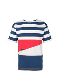 Camiseta con cuello circular de rayas horizontales en blanco y rojo y azul marino de Marni