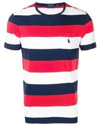 Camiseta con cuello circular de rayas horizontales en blanco y rojo y azul marino de Polo Ralph Lauren