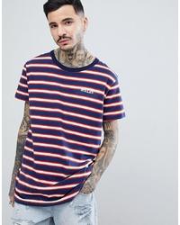 Camiseta con cuello circular de rayas horizontales en blanco y rojo y azul marino de Rollas