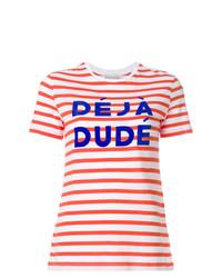 Camiseta con cuello circular de rayas horizontales en blanco y rojo de Être Cécile