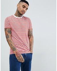 Camiseta con cuello circular de rayas horizontales en blanco y rojo de ASOS DESIGN