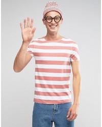 Camiseta con cuello circular de rayas horizontales en blanco y rojo de Asos