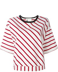 Camiseta con cuello circular de rayas horizontales en blanco y rojo