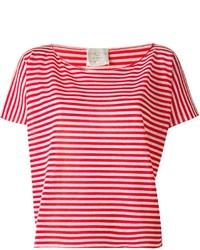 Camiseta con cuello circular de rayas horizontales en blanco y rojo de Forte Forte