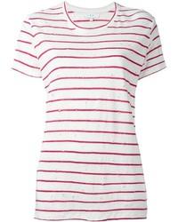 Camiseta con cuello circular de rayas horizontales en blanco y rojo de IRO