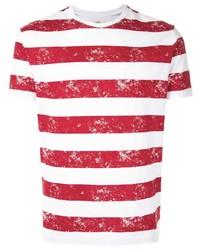Camiseta con cuello circular de rayas horizontales en blanco y rojo de Kent & Curwen