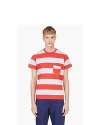 Camiseta con cuello circular de rayas horizontales en blanco y rojo de Levis Vintage Clothing